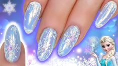 Natasha Lee demonstrates how to create a Frozen-inspired snowflake nail design featuring glitter and chrome. Blue Nail Designs, Simple Nail Art Designs, Winter Nail Designs, Winter Nail Art, Christmas Nail Designs, Christmas Nail Art, Winter Nails, Simple Christmas, Snowflake Nail Design