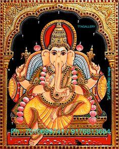 Navratri Images, Tanjore Painting, Lord Ganesha, Teak Wood, Art Gallery, Brass, Paintings, God, The Originals