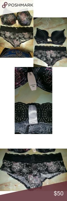 Victorias Secret bra and panty set Gorgeous firework pattern bra and panty set with rhinestones Victoria's Secret Intimates & Sleepwear Bras