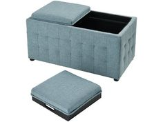 Upholstered storage double ottoman with two lift tops Covered in seafoam linen fabric Square tufted pattern on sides. WOOD, FOAM AND LINEN. Clutter Free Home, Tufted Storage Ottoman, Inside Home, Fabric Squares, Hidden Storage, Sea Foam, Foot Rest, Sectional Sofa, Storage Spaces
