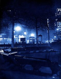 """""""London Night"""" by Harold Burdekin (1934) from Spitalfields Life - Leicester Square, Piccadilly"""