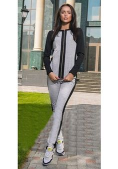 Grey-Black Patchwork Zipper Long Elastic Waist Mid-rise Long Jumpsuit -12137475854-00 085b31bc1
