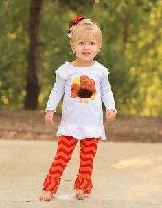 Orange Chevron Ruffle Turkey Pant Set