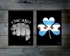 Chicago Pride-set of two art prints-shamrock-Chicago flag-Celtic-black and white photography-fist-Chicago Irish-South Side-North Side-city
