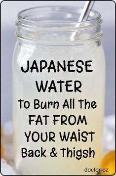 Here is a Japanese Water To Burn All The Fat From Your Waist, Back And Thighs! This is a fast and safe fat burning home remedy that you can start adding to your weight loss diet today! Using this recipe will not only help you lose weight but also keep you Weight Loss Meals, Weight Loss Water, Weight Loss Drinks, Weight Loss Smoothies, Weight Loss Diet Plan, Fast Weight Loss, Healthy Weight Loss, How To Lose Weight Fast, Losing Weight