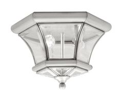 Livex Lighting 705291 Monterey 2 Light OutdoorIndoor Brushed Nickel Finish Solid Brass Flush Mount with Clear Beveled Glass * Find out more by clicking the image