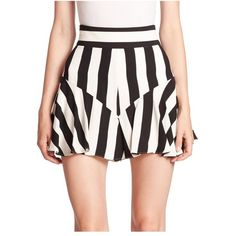 Milly Striped Ruffle Shorts ($285) ❤ liked on Polyvore featuring shorts, black white, tailored, flounce shorts, frilly shorts, black and white stripe shorts, back zip shorts and tailored shorts