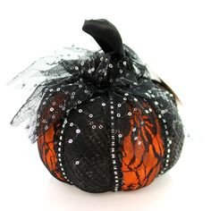Halloween Orange W/Black Lace Pumpkin Sm Halloween Decor