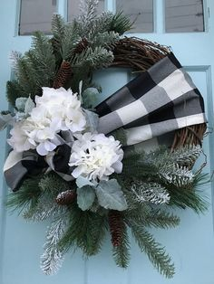 Black and White buffalo Plaid Ribbon with Pine on Grapevine Winter Wreath for Front Door. wreaths for front door, farmhouse, Christmas, - Black and White buffalo Plaid Ribbon with Pine on Grapevine Winter Wreath for Front Door. wreaths f - Christmas Front Doors, Christmas Wreaths To Make, Holiday Wreaths, Christmas Crafts, Christmas Decorations, Winter Wreaths, Holly Christmas, Christmas Time, Christmas Christmas