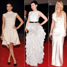 2012 White House Correspondent�s Dinner red carpet dresses. WHITE Eva Longoria wears a cap-sleeved Marchesa dress. Ginnifer Goodwin in a sleeveless bottom tiered H&M gown. Claire Danes in a halter gown by Vivienne Westwood.