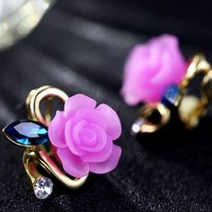 Cute Rose Sapphire Diamond Gilded Lady Elegant Earring Studs