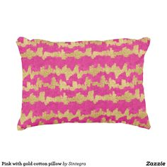 Pink with gold cotton pillow
