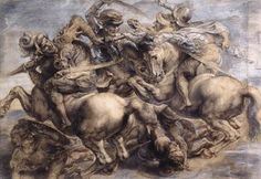 The Battle of Anghiari by Leonardo da Vinci. Currently lost and believed to still be hidden among the frescoes in the Pallazo de Vecchio, Venice.