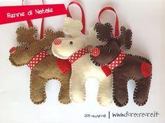Decori per l'albero in feltro e pannolenci, ecco le renne in feltro, stampa lo schema di taglio e realizza la tua decorazione di Natale.