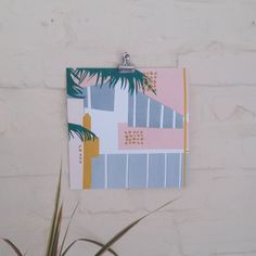 20x20 cm 'Ocean Palm' Art Deco inspired Art by AnnaSpurlingDesign