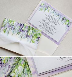 Wisteria wedding stationary by Momental Designs. Beautiful for spring wedding at. Trendy 2019 - Wedding Invitations Trends 2019 - Nail polish patterns that you can do with the nails arts friends look at the hands of . Wedding Invitation Kits, Laser Cut Wedding Invitations, Beautiful Wedding Invitations, Watercolor Wedding Invitations, Wedding Stationary, Lavender Wedding Invitations, Invitation Suite, Wedding Cards, Diy Wedding
