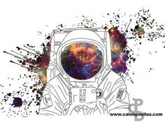 Space man colourfull tattoo desing idea