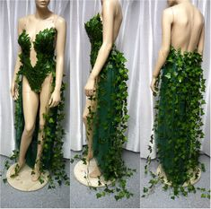 Poison Ivy Monokini Gown with Train Costume Cosplay Dance Costume Rave Bra Rave Wear Halloween Burle costume design Poison Ivy Cosplay, Poison Ivy Costumes, Poison Ivy Kostüm, Poison Ivy Dress, Poison Ivy Halloween Costume, Halloween Dance Costumes, Poison Ivy Batman Costume, Mother Nature Costume Halloween, Poison Ivy Makeup