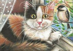 Calico Cat & Chickadee Painting