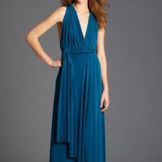 Long Convertible Dress in Gorgeous Teal-ONE SIZE Gorgeous convertible dress to be styled as you please- dozens of options! Works on any body sized 0-12. Worn once at a wedding... Super comfortable and vibrant fabric that can be worn for many occasions (except in a lab, which is where I spend most of my time!).. Add some jewels for a formal night out, or rock it casually as a summer dress. Please message any questions. Von Vonni Dresses Maxi