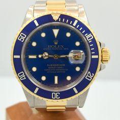 1987 Rolex Blue Submariner 18k Yellow Gold & Stainless Steel Ref. 16803