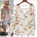 Blusas femininas 2015 new verão Senhoras Elegantes da Cópia Floral Blusa Mulheres Camisas de Chiffon Com Decote Em V Ocasional Do Vintage roupas femininas