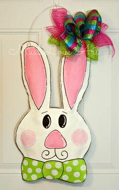 Easter Burlap Door Hanger Bunny Rabbit Wall by MustLoveArtStudio, $35.00