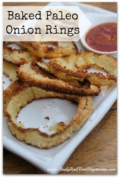 These paleo baked onion rings are such a fun snack for special occasions or a healthy alternative to superbowl snacks.
