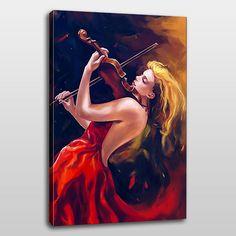 Kırmızı ve siyahın hakim olduğu zeminde geriye savurduğu sarı saçlarıyla ''keman çalan kadın'' tablosu.