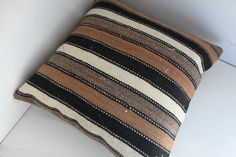 """Undyed Colors Wool Kilim Rug 16"""" x 16"""" Black White Grey and Brown Colors  Home Decor Vintage Turkish Kilims Pillow Handwoven Kilim Cushion"""