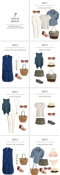Days In Greece : The Perfect Pieces For A Versatile Honeymoon Wardrobe Honeymoon Essentials Inspiration Honeymoon Packing Ideas Greek Honeymoon Outfits Honeymoon Essentials Inspiration Honeymoon Packing Ideas Greek Honeymoon Outfits Honeymoon Essentials, Honeymoon Outfits, Honeymoon Packing, Travel Packing, Honeymoon Clothes, Vacation Packing, Travel Capsule, Travel Checklist, Honeymoon Ideas