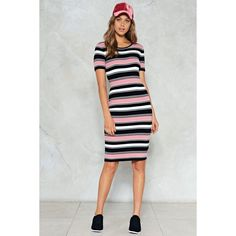 Nasty Gal On the Line Striped Dress ($40) ❤ liked on Polyvore featuring dresses, pink, short-sleeve dresses, mid calf dresses, pink midi dress, stripe dress and bodycon midi dress