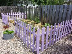 Make a garden picket fence from pallets.. Paint it whimsical to add interest or to make a beautiful children's garden!