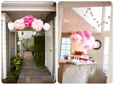 shades of pink pom poms hanging over entrance to party, can also be created over food tables
