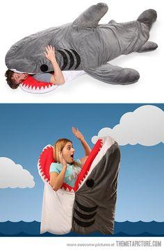 Funny pictures about Shark Sleeping Bag. Oh, and cool pics about Shark Sleeping Bag. Also, Shark Sleeping Bag photos. Burlap Rug, Esquivel, Shark Week, Just For Fun, Marketing, Make Me Smile, Nerd, Hilarious, Photos