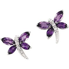 Amethyst and Diamond Dragonfly Earrings set in 14k White Gold