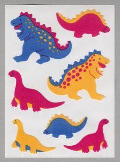 Grossman/'s Stickers Mrs 3 Strips Sparkle Dino Friends Colorful Dinosaurs