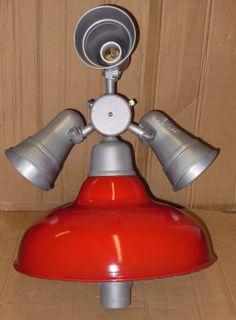 Vintage Revere Pemco Benjamin Stonco Porcelain Gas Staion Island Light Fixture