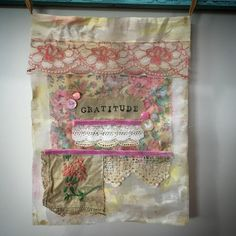 "March prayer flag with theme of ""gratitude"" and inclusion of French knots. French Knot Stitch, French Knots, French Cuff, French Knot Embroidery, Embroidery Kits, Embroidery Stitches, Japanese Embroidery, Flower Embroidery, Embroidery Designs"