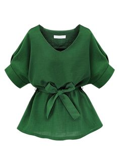Green V Neck Bow Tie Short Sleeve Blouse   abaday I really like this. Nice cut and love the color.