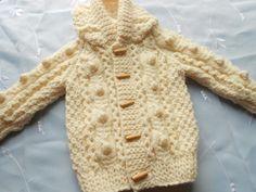 Baby boy aran sweater with hood, hand knit