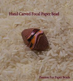 Hand Carved Focal Paper Bead by PassionForPaperBeads Make Paper Beads, Paper Bead Jewelry, How To Make Paper, How To Make Beads, Bead Crafts, Jewelry Crafts, Jewelry Ideas, Paper Crafts, Diy Jewelry Recycled