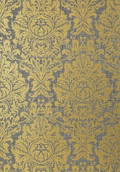 KINGSBURY DAMASK, Metallic Gold on Charcoal, T83034, Collection Natural Resource 2 from Thibaut