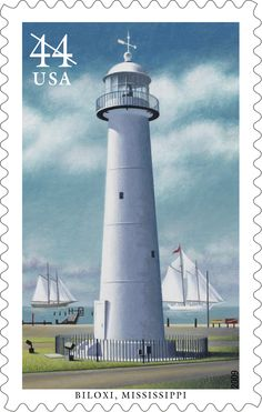 Of all the lighthouses that once stood in Mississippi, Biloxi Lighthouse is the only one still standing.  Named to the National Register of Historic Places in 1973, the white, conical tower was built in 1848, making it one of the first cast-iron lighthouses in the South. This stamp was issued in 2009.