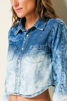 camisa jeans curta ref 218232