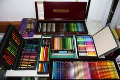 Colored Pencil Sets Collection 3 Prismacolor Range sets open tins b by betolung, via Flickr