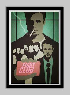 Fight Club Inspired Retro Modern Minimalist Poster, Brad Pitt and Edward Norton 11x17. $16,95, via Etsy.