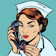 nurse reception Desk talking phone stock photo (c) studiostoks (#5972542) | Stockfresh