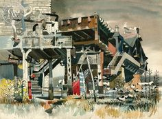 An Old Crossing, The New York EL, c. 1950's, a California watercolor by Dong Kingman