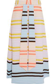 Suno|Striped matelassé midi skirt|NET-A-PORTER.COM